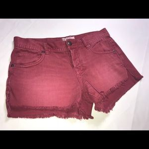 Free People Burgundy Cut Off Denim Shorts